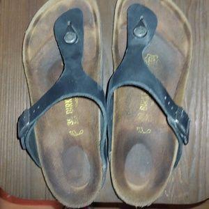 Birkenstock Gizeh Black Cork Leather Sandal 39